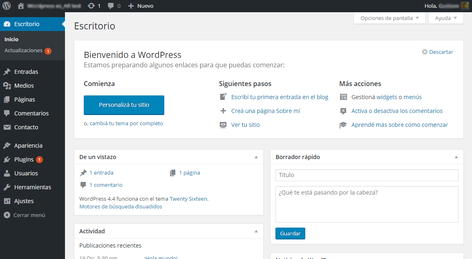 Escritorio de WordPress